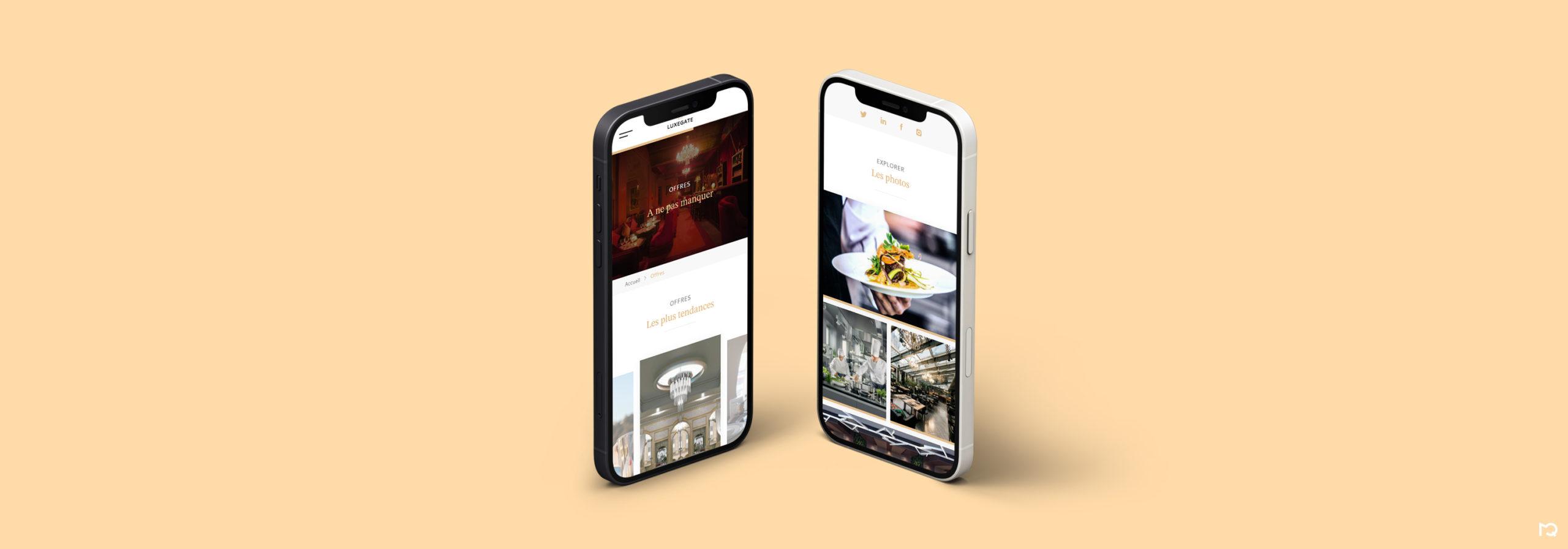 Maquettes LuxeGate sur différents téléphones