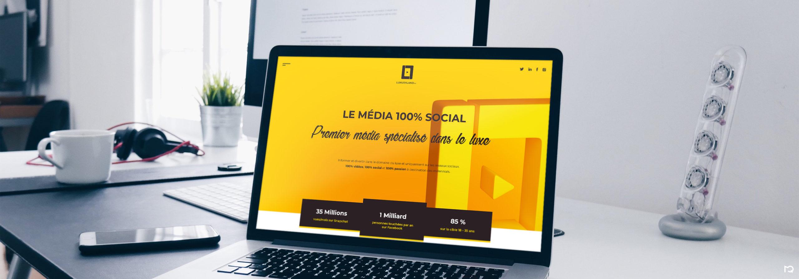 Maquette page d'accueil LuxuryLand.tv sur ordinateur