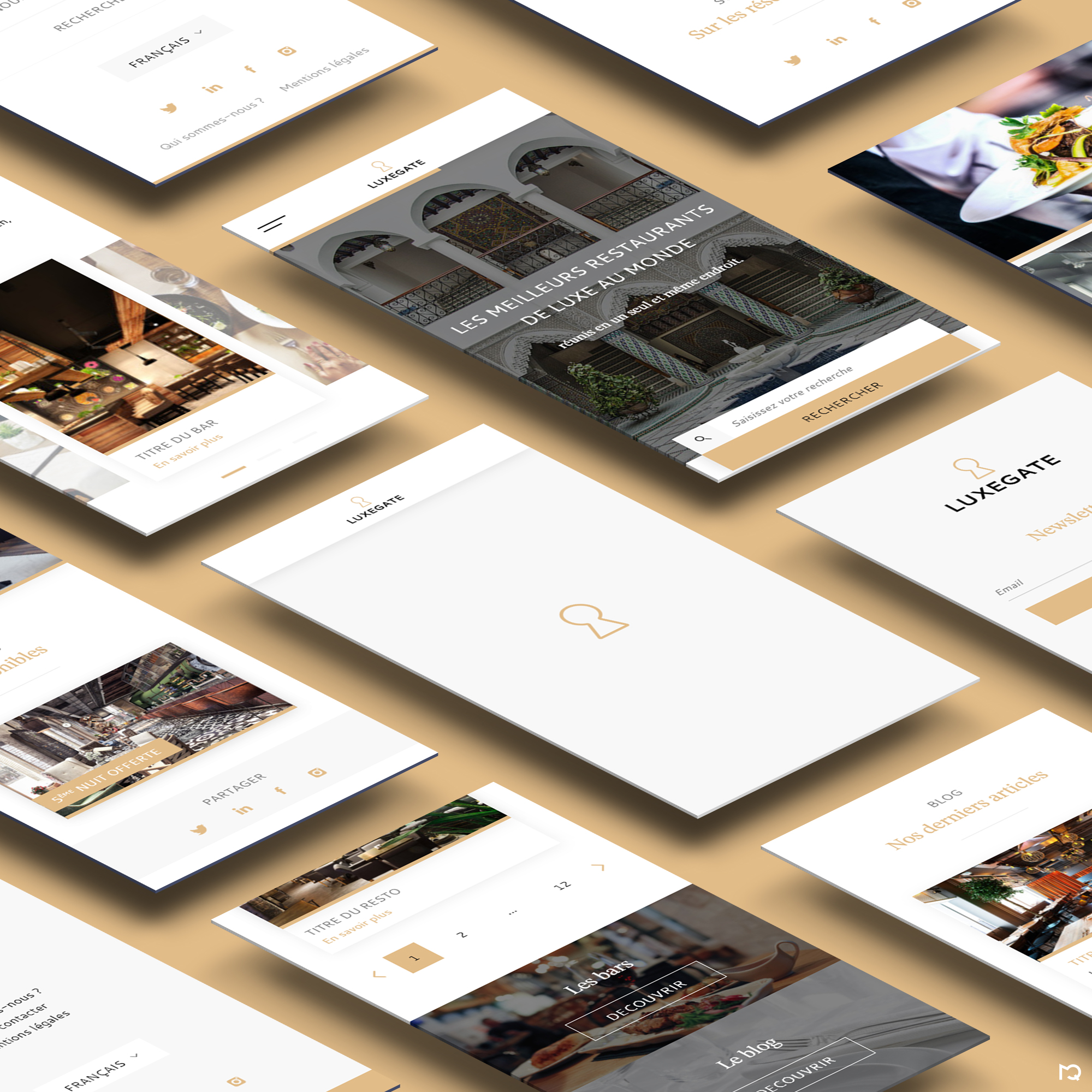 Maquettes LuxeGate sur mobile